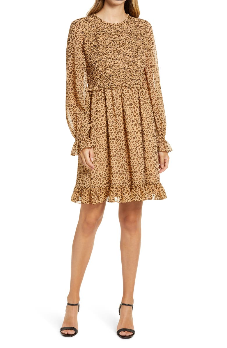RACHEL PARCELL Smocked Ruffle Dress, Main, color, TAN ANIMAL FLORAL