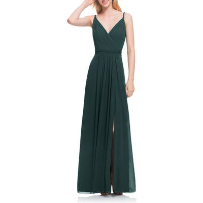 #levkoff Surplice Neck Chiffon Gown, Green