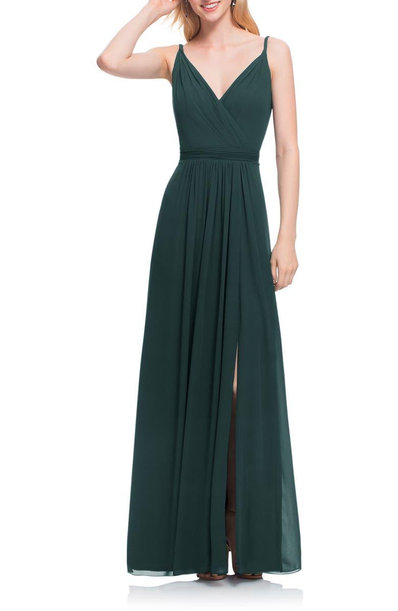 #LEVKOFF Surplice Neck Chiffon Gown, Main, color, EVERGREEN