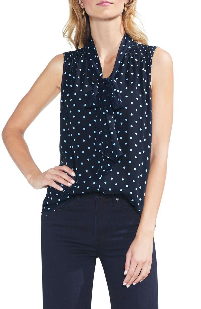 VINCE CAMUTO Romantic Dots Tie Neck Blouse, Main, color, 407