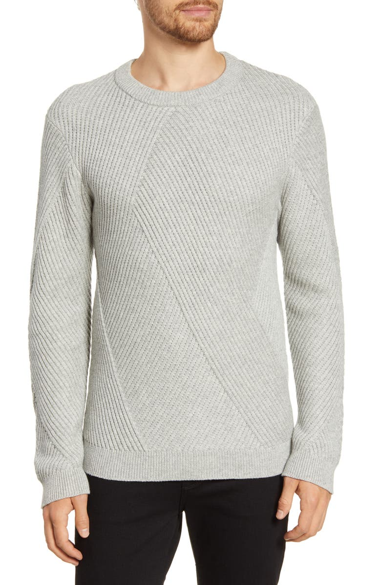 FRENCH CONNECTION Fashioned Rib Regular Fit Crewneck Sweater, Main, color, 050