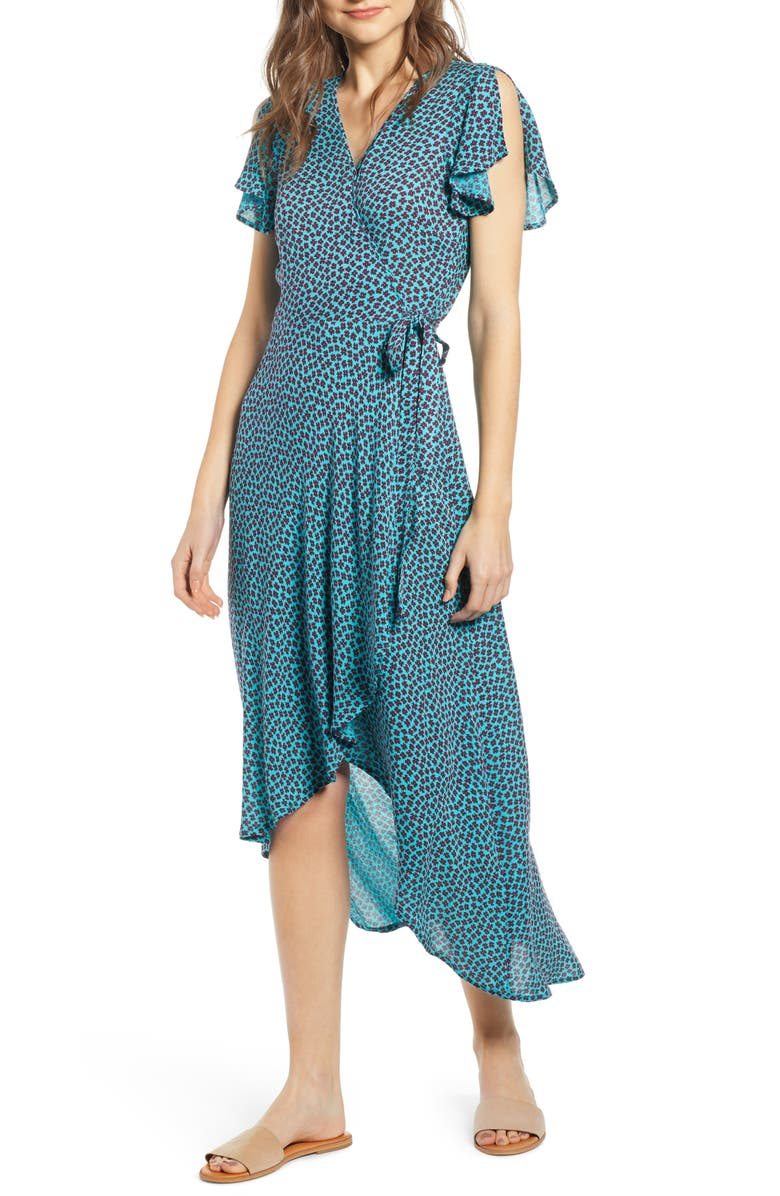 BAND OF GYPSIES Mantinique High/Low Wrap Dress, Main, color, 400