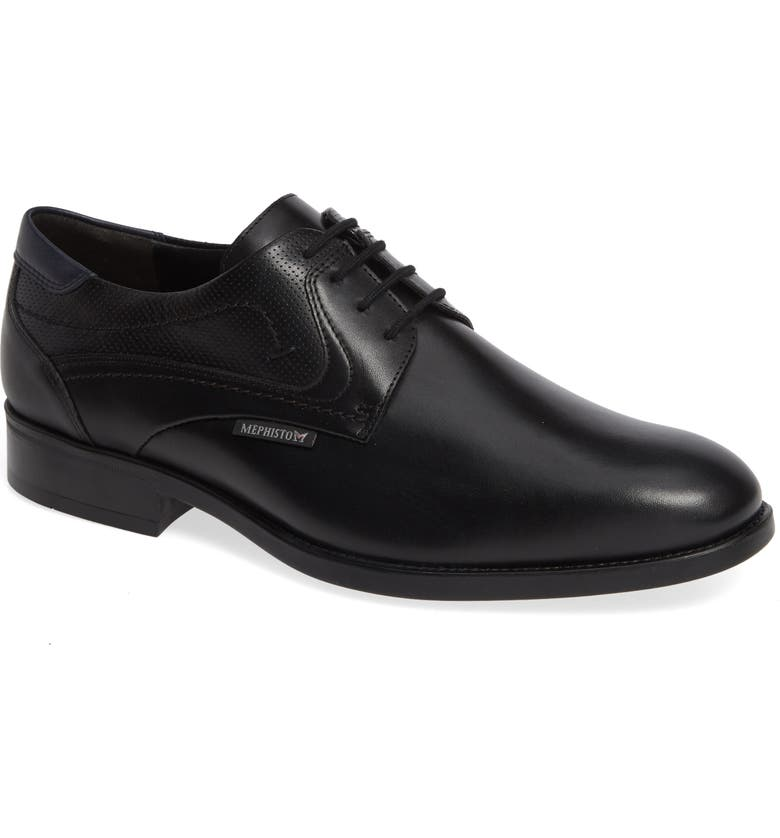 MEPHISTO Cirus Plain Toe Derby, Main, color, BLACK/ NAVY LEATHER