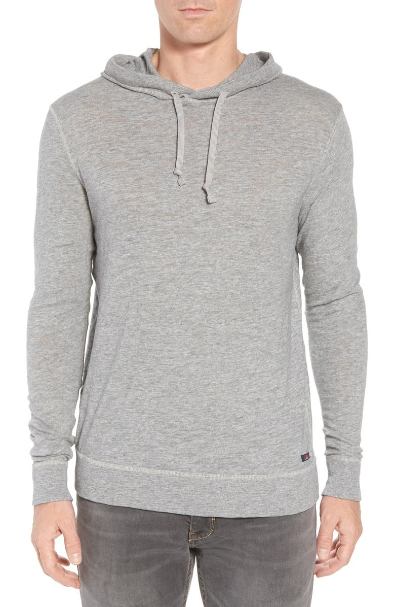 FAHERTY Slub Cotton Hoodie, Main, color, HEATHER GREY