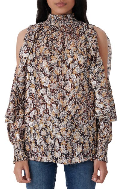Maje Blouses METALLIC PAISLEY COLD SHOULDER BLOUSE