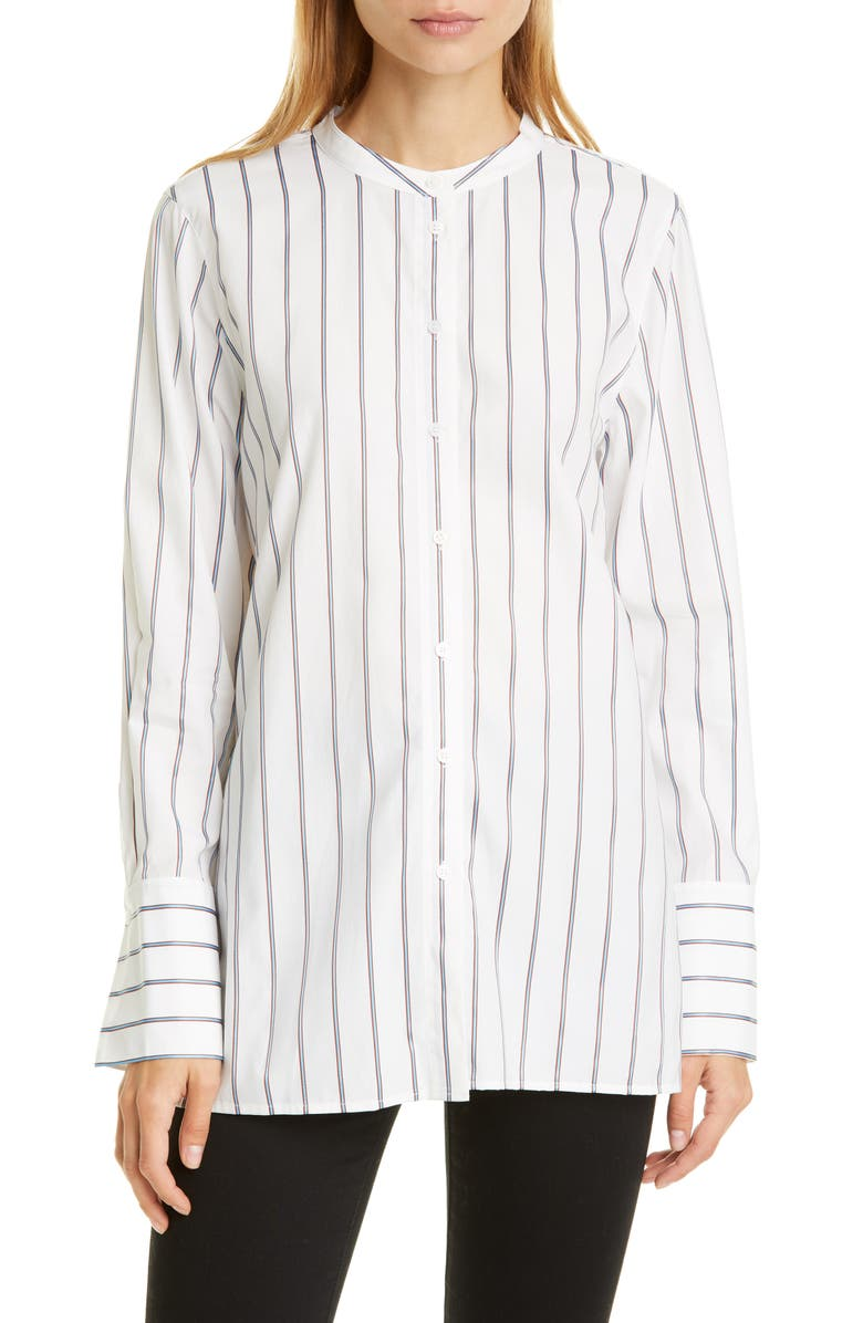 NORDSTROM SIGNATURE Stripe Tunic Shirt, Main, color, WHITE- BLUE FLEUR STRIPE