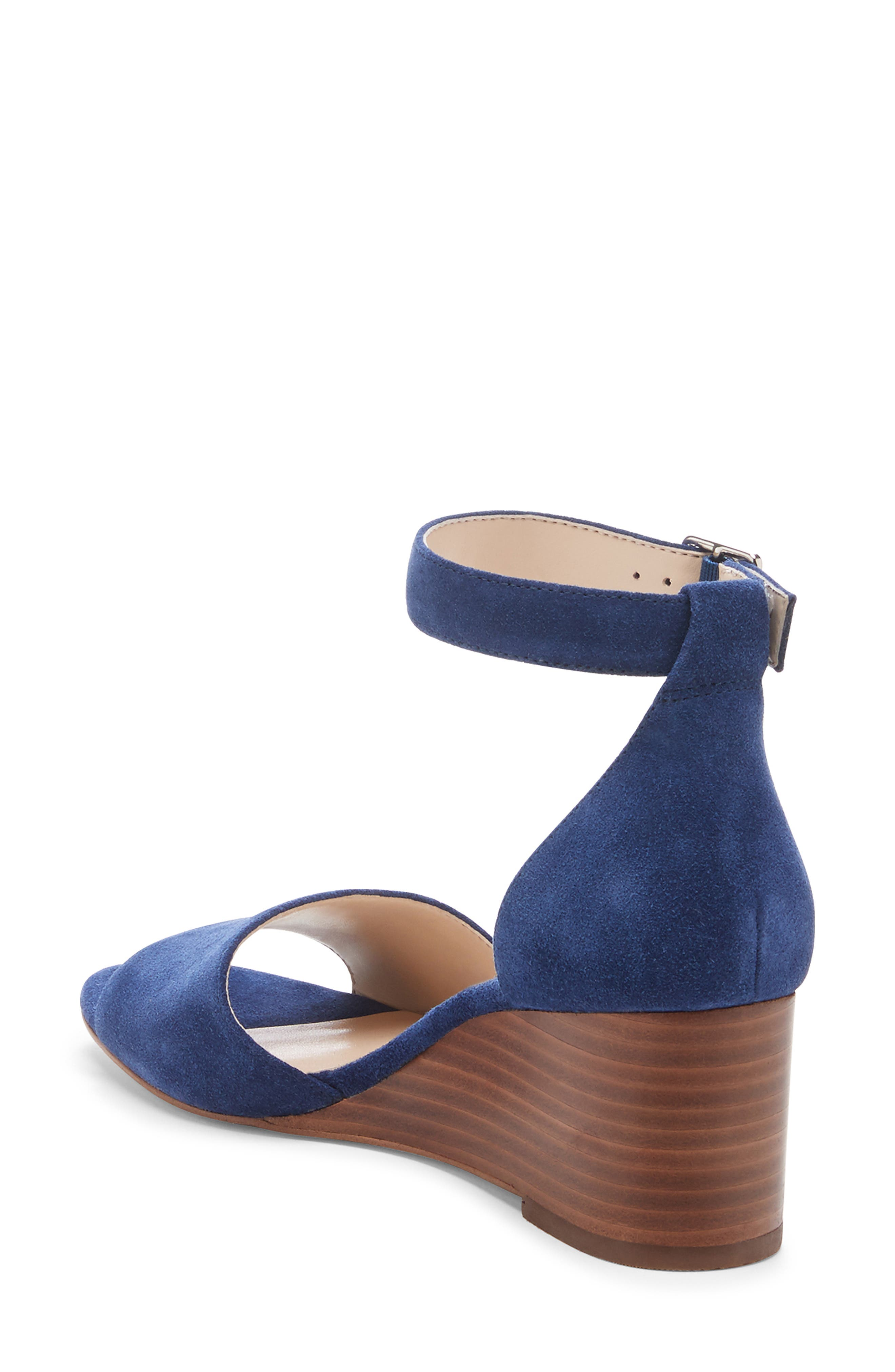 ,                             Kenia Wedge Sandal,                             Alternate thumbnail 2, color,                             BLUE JEAN SUEDE