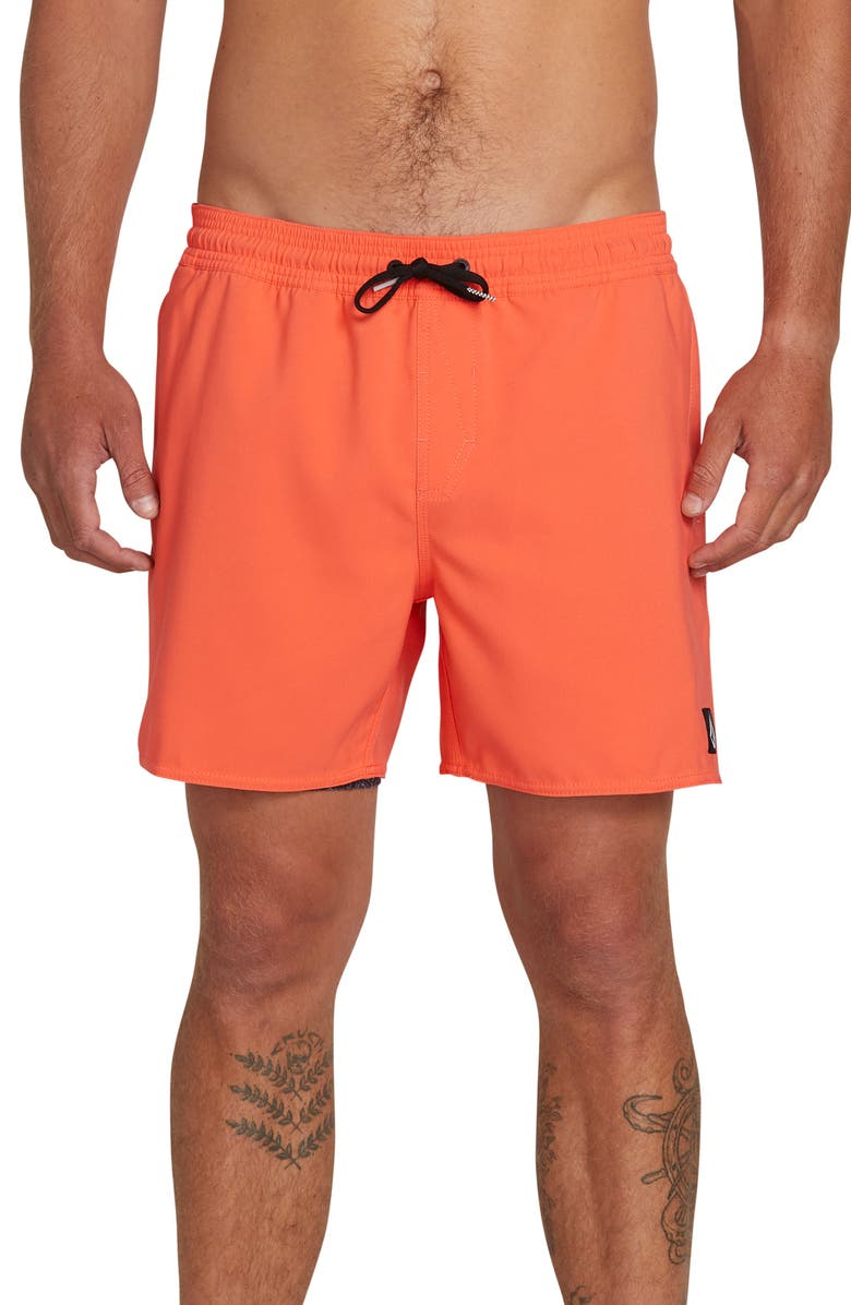 VOLCOM Lido Volley Swim Shorts, Main, color, CORAL ELECTRIC