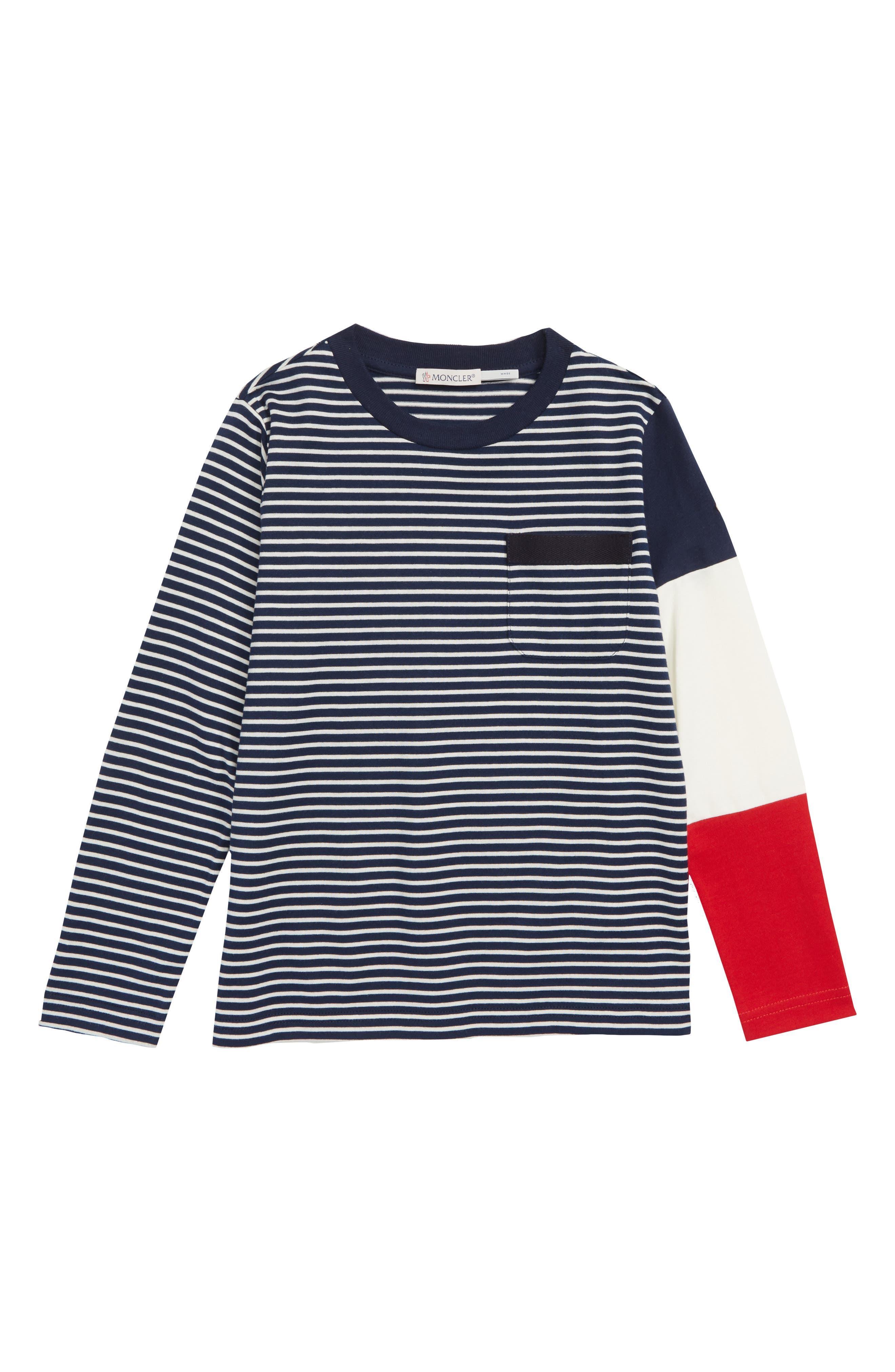 Stripe Long Sleeve T-Shirt, Main, color, NAVY