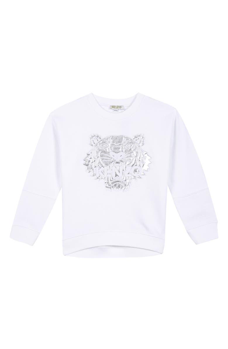 KENZO Tiger Appliqué Sweatshirt, Main, color, WHITE