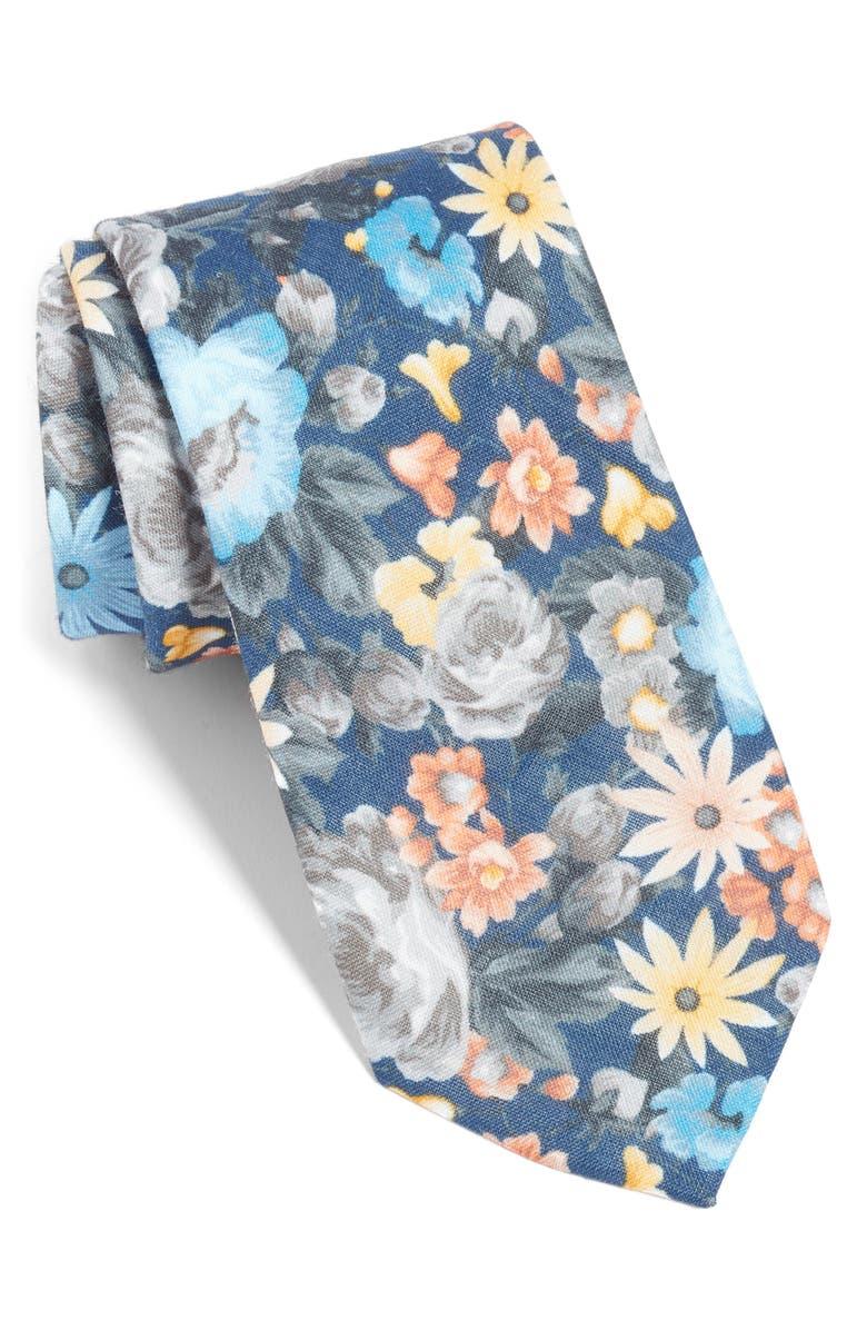 THE TIE BAR Duke Floral Linen Tie, Main, color, 410