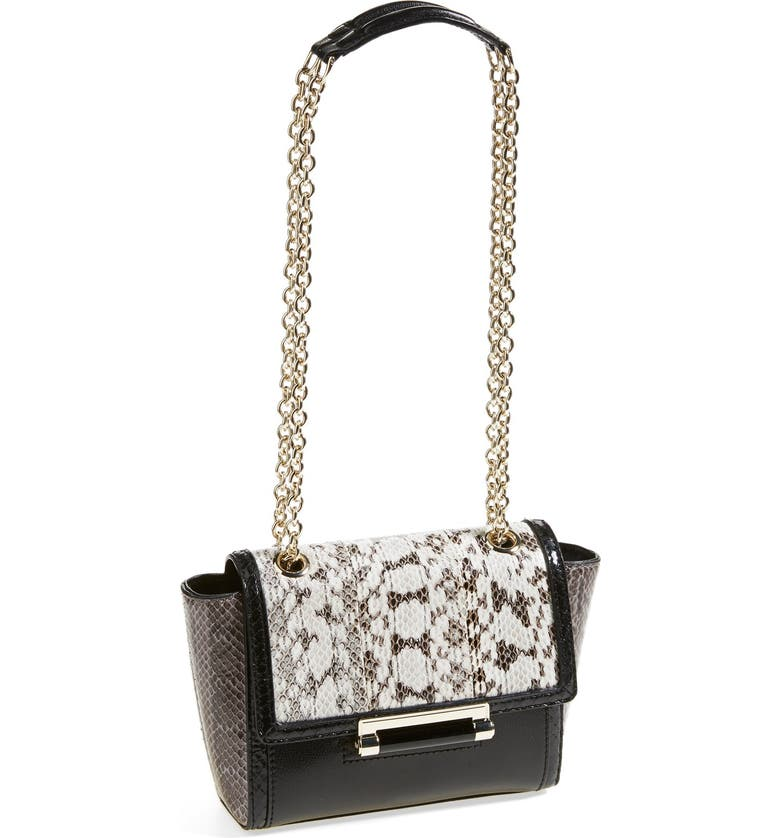 DIANE VON FURSTENBERG 'Mini 440' Leather & Genuine Snakeskin Crossbody Bag, Main, color, 001