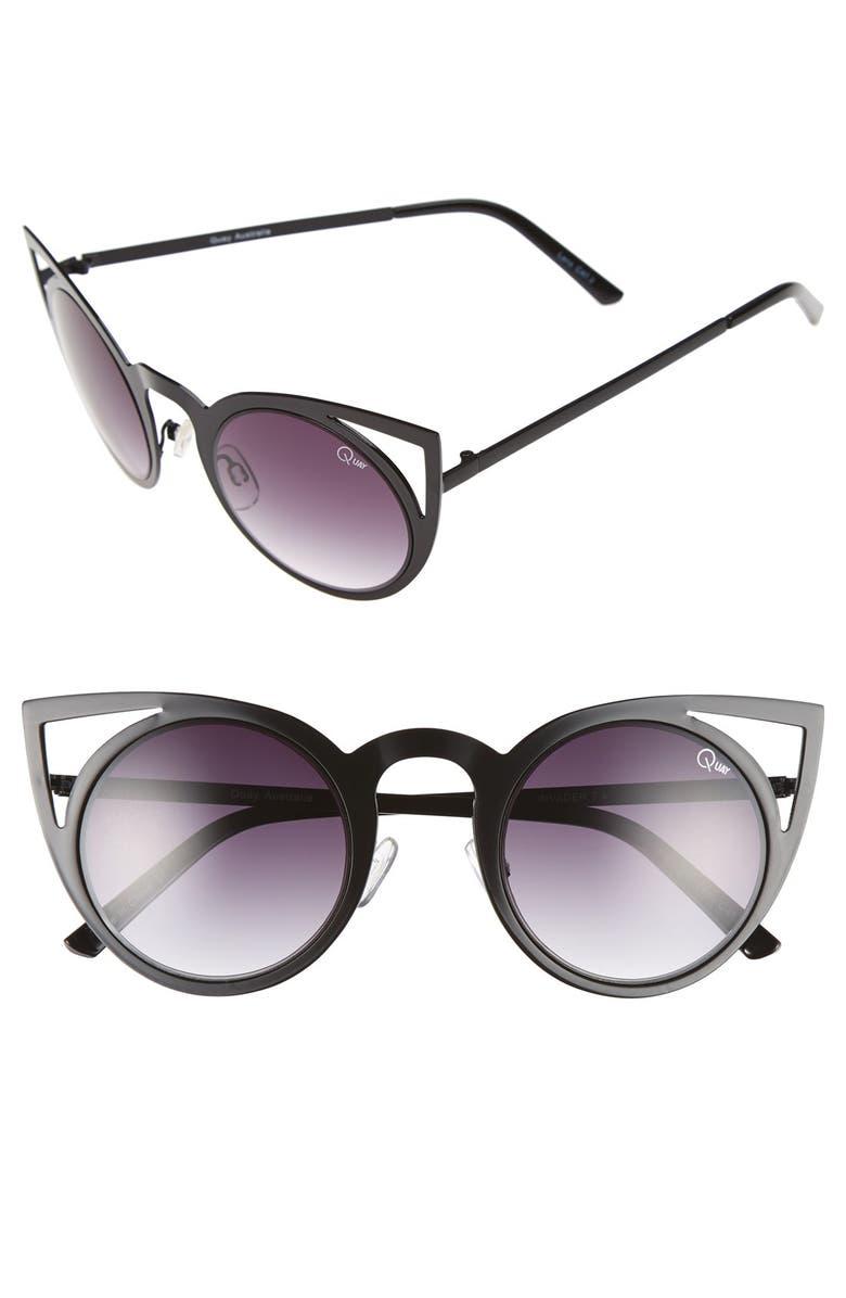 QUAY AUSTRALIA 'Invader' 50mm Cat Eye Sunglasses, Main, color, 002