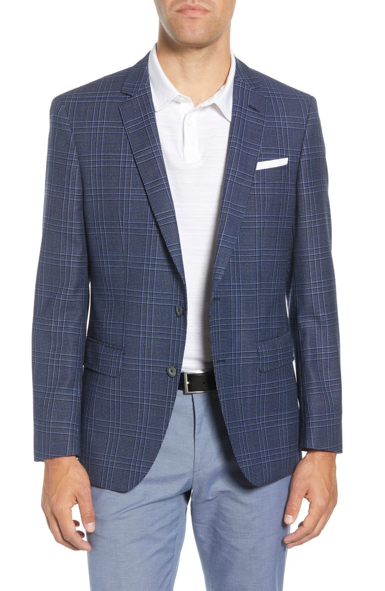 BOSS Hutsons Trim Fit Plaid Wool Sport Coat, Main, color, DARK BLUE