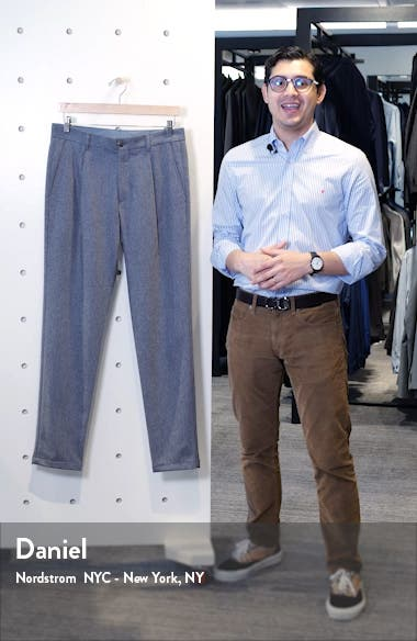 Pleated Solid Stretch Wool & Cashmere Dress Pants, sales video thumbnail