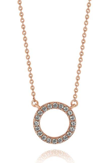 Image of Suzy Levian 14K Rose Gold Diamond Circle Necklace - 0.25ctw