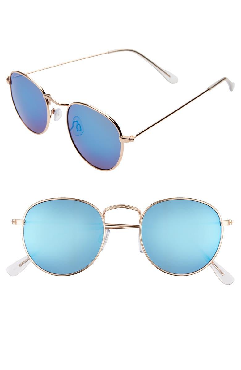 BP. 48mm Round Metal Sunglasses, Main, color, GOLD/ BLUE/ MIRROR