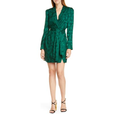 Saloni Bibi Silk Jacquard Long Sleeve Minidress, Green