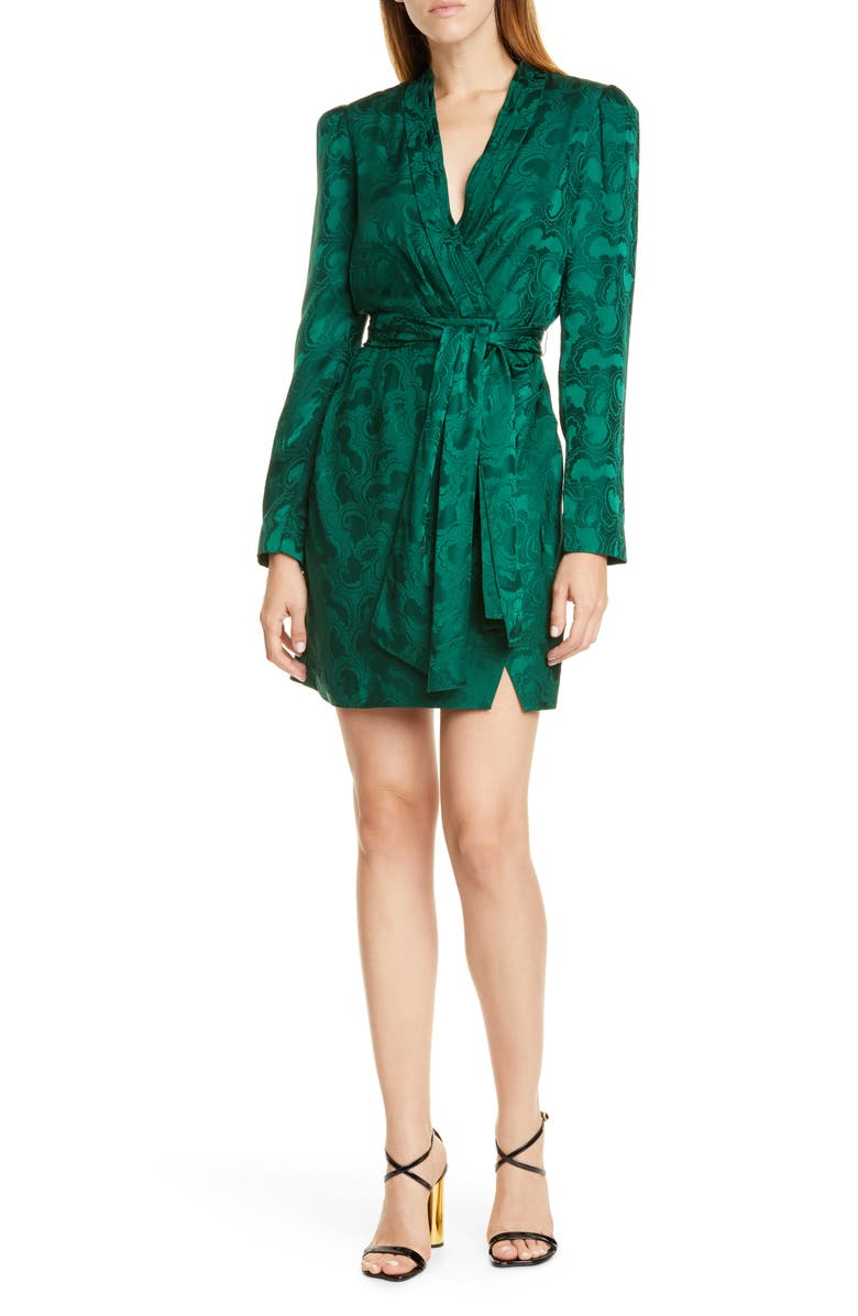 SALONI Bibi Silk Jacquard Long Sleeve Minidress, Main, color, 306