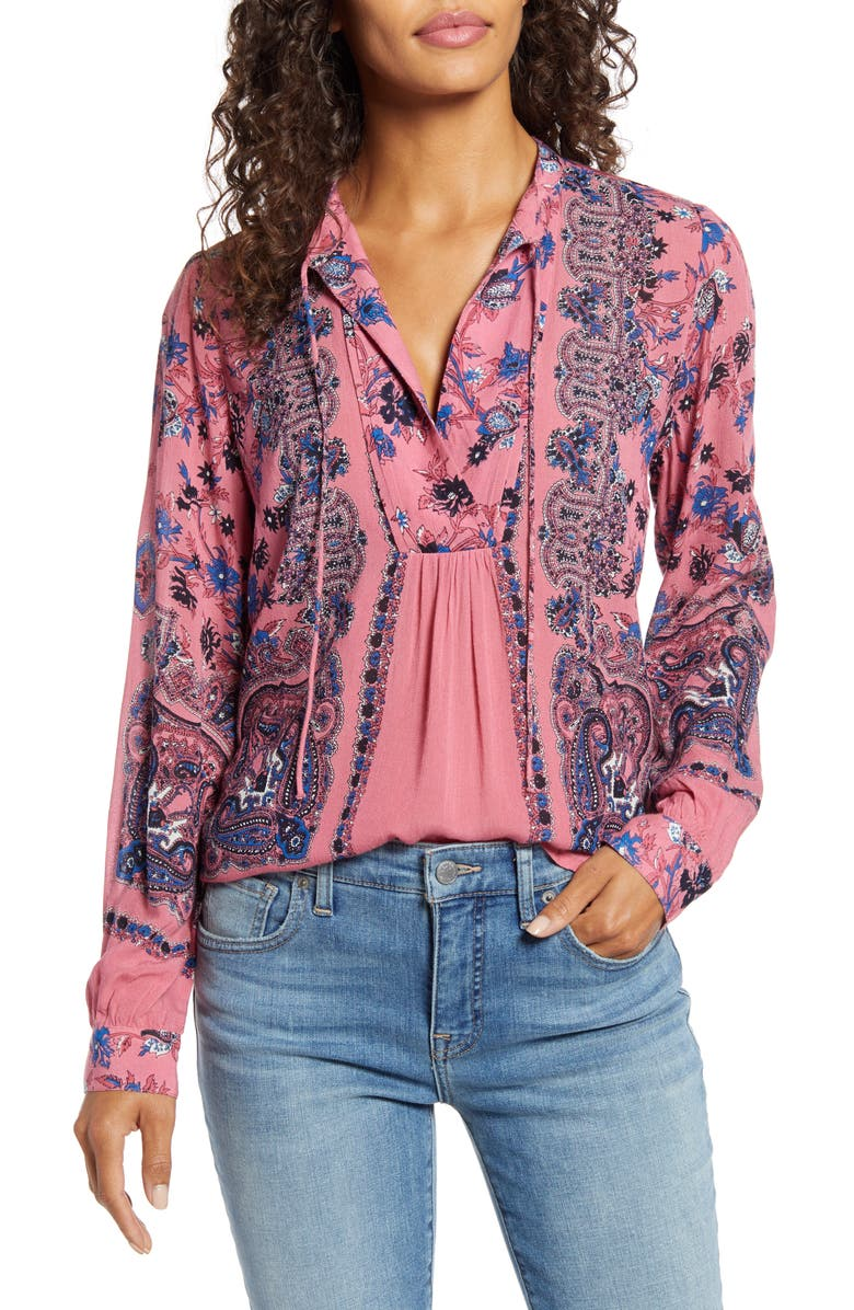 LUCKY BRAND Paisley & Floral Peasant Top, Main, color, PINK MULTI