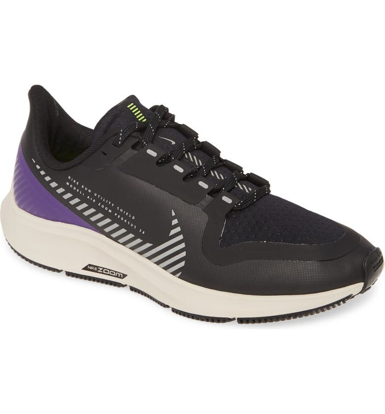 NIKE Air Zoom Pegasus 36 Shield Water Repellent Shoe, Main, color, BLACK/ SILVER/ SAND/ PURPLE