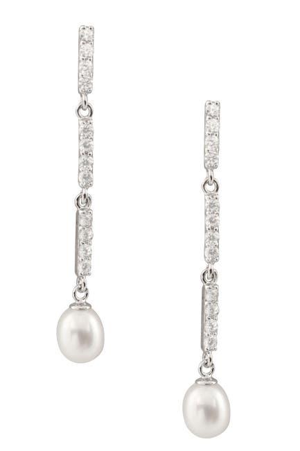 Image of Splendid Pearls Dangling Long CZ & 7-8mm Pearl Earrings