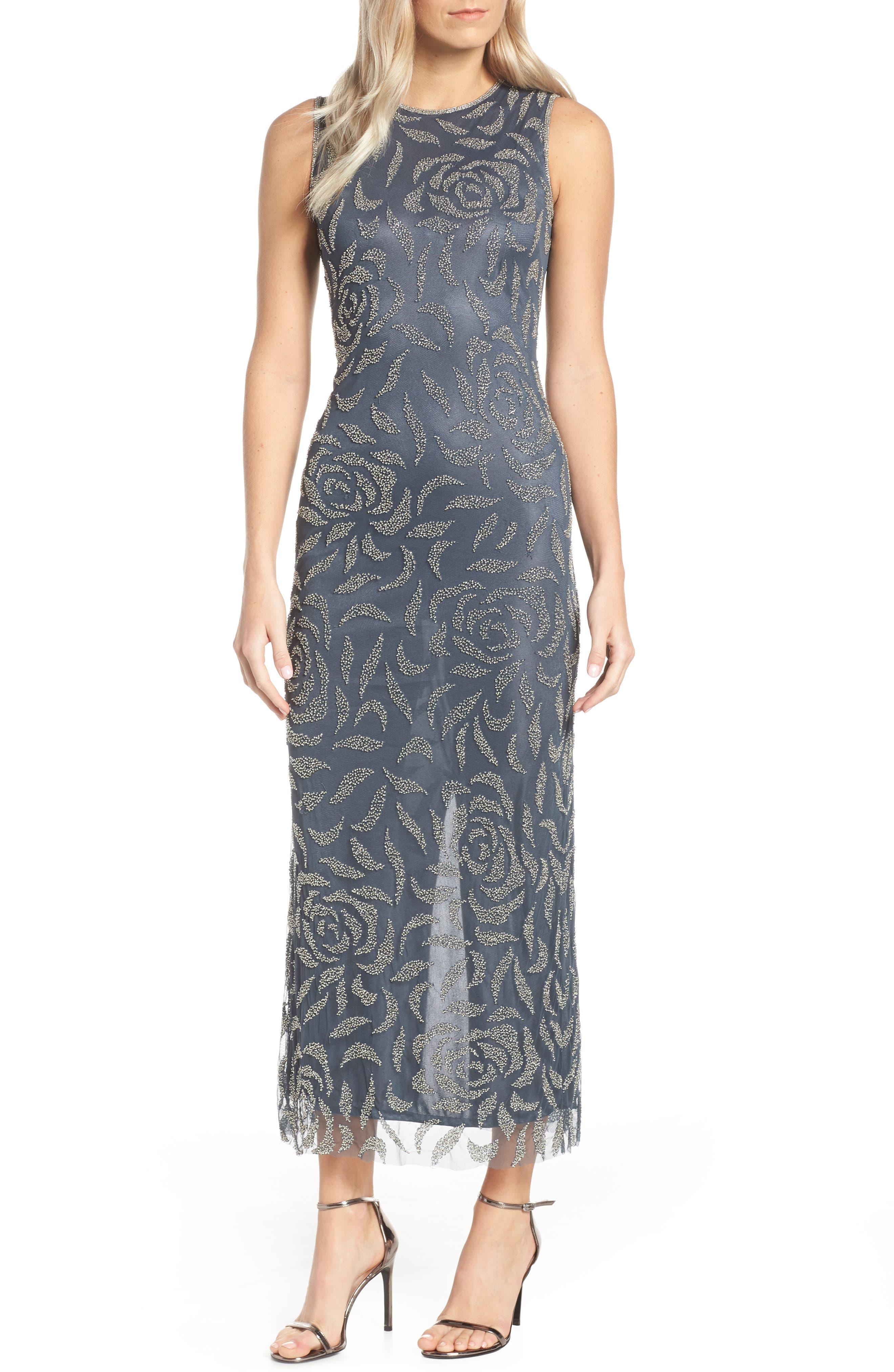 2fa992b1838a Petite Pisarro Nights Beaded Rose Motif Evening Dress, Grey