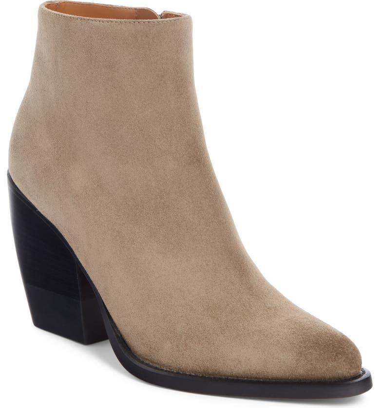 CHLOÉ Rylee Block Heel Bootie, Main, color, MOTTY GREY