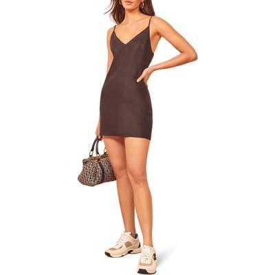 Reformation Riverside Linen Minidress, Black