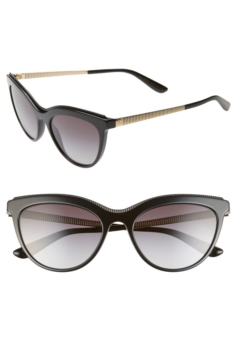 DOLCE&GABBANA 54mm Cat Eye Sunglasses, Main, color, BLACK/ BLACK GRADIENT