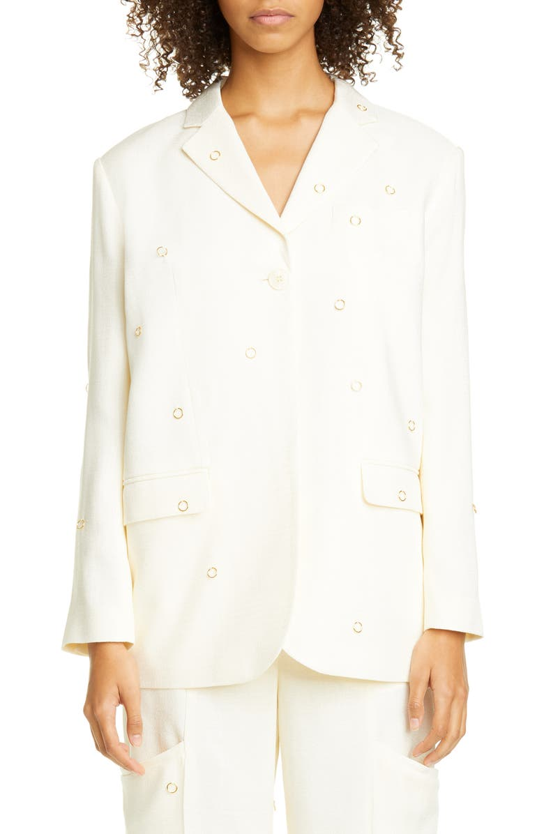 JACQUEMUS Moyo Ring Detail Blazer, Main, color, 900