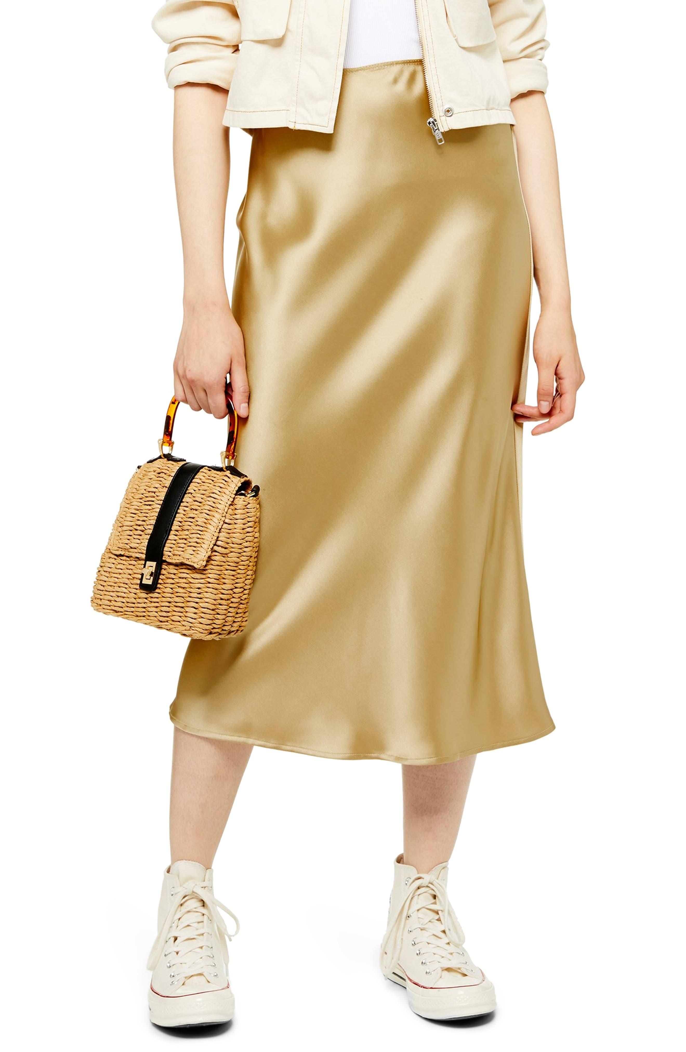 Topshop Satin Bias Midi Skirt, US (fits like 0-2) - Metallic