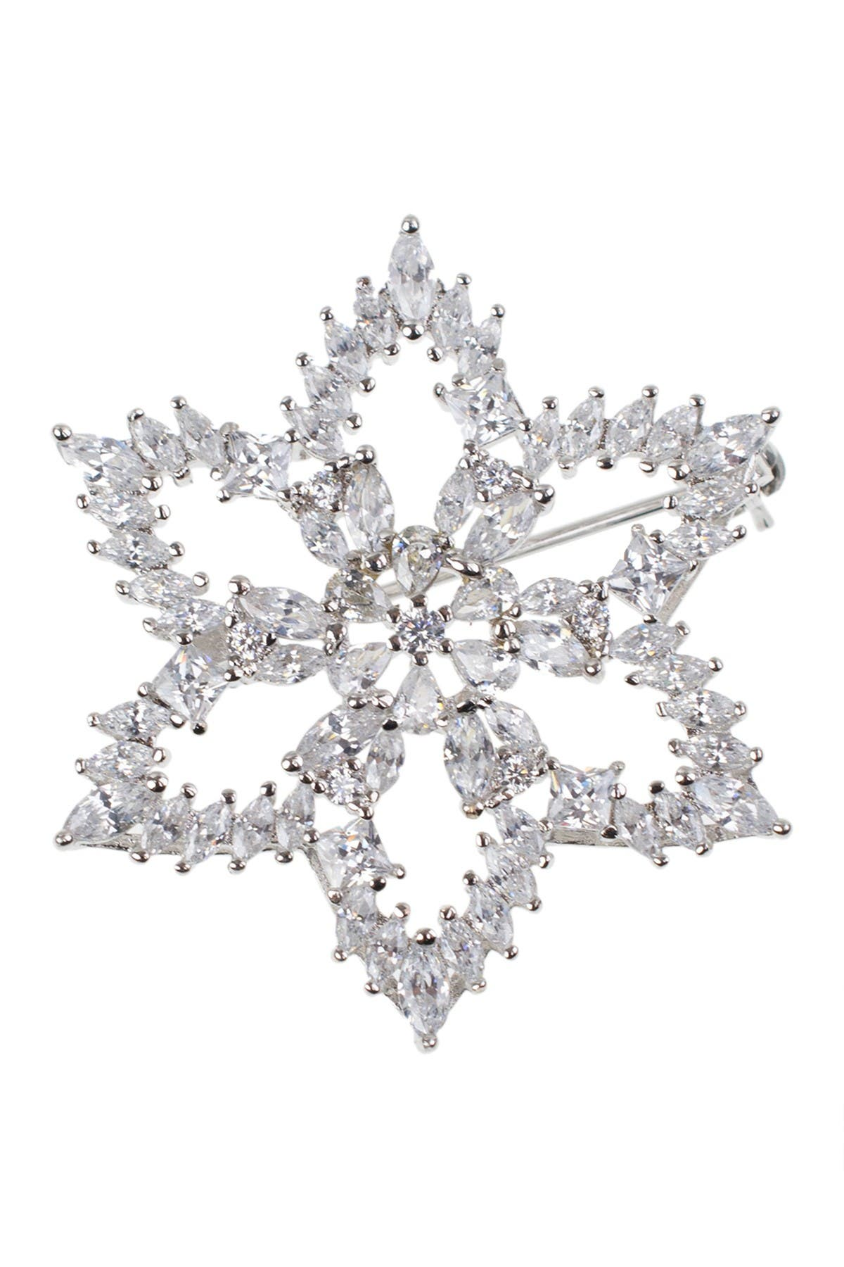 Image of CZ By Kenneth Jay Lane Rhodium Plated Multi CZ Glamorous Brooch