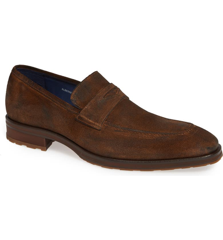 MEZLAN Alberni Penny Loafer, Main, color, COGNAC SUEDE