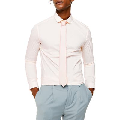 Topman Skinny Fit Stretch Button-Up Shirt, Pink