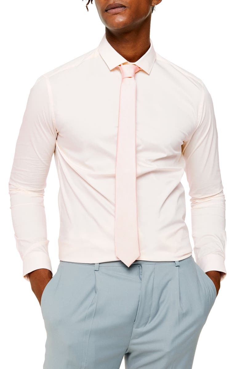 TOPMAN Skinny Fit Stretch Button-Up Shirt, Main, color, PINK