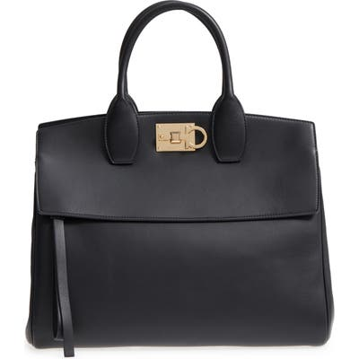 Salvatore Ferragamo Studio Calfskin Leather Top Handle Tote - Black