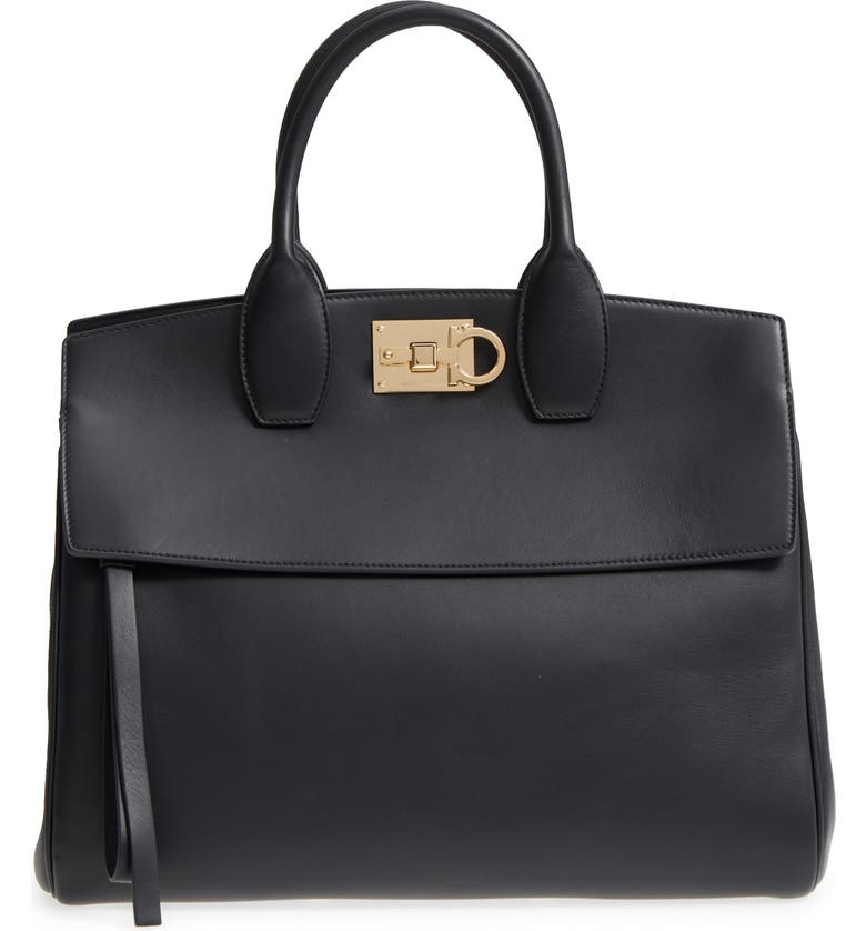 SALVATORE FERRAGAMO Studio Calfskin Leather Top Handle Tote, Main, color, NERO