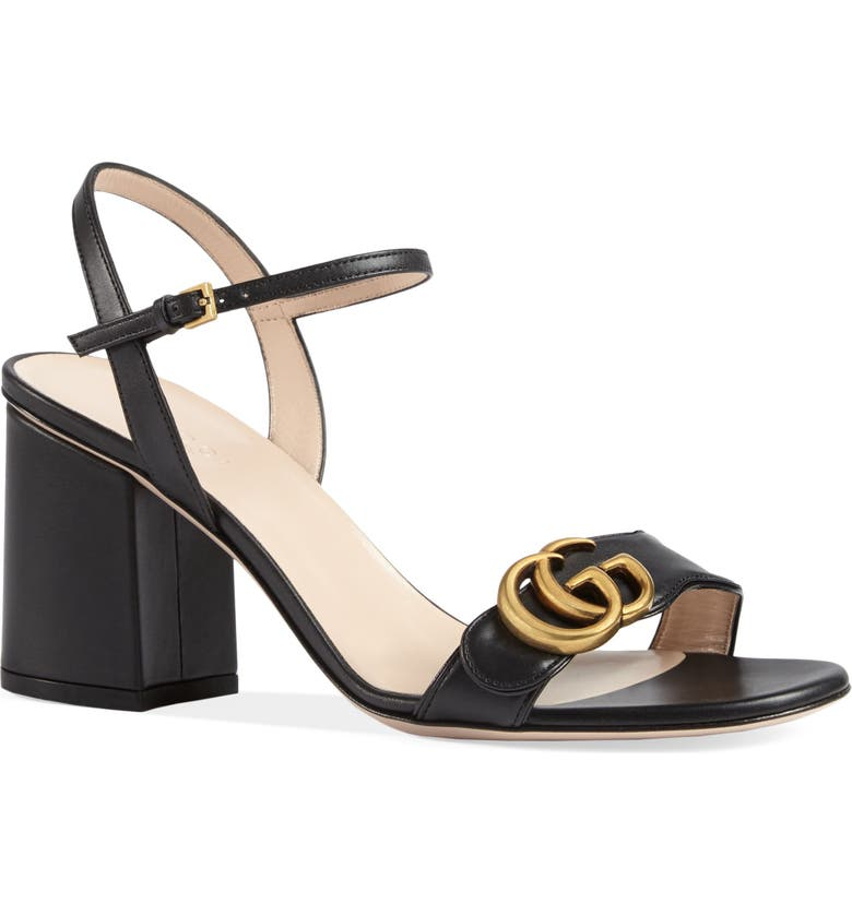 GUCCI GG Sandal, Main, color, BLACK LEATHER