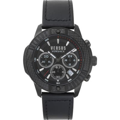 Versus Versace Admiralty Chronograph Leather Strap Watch,