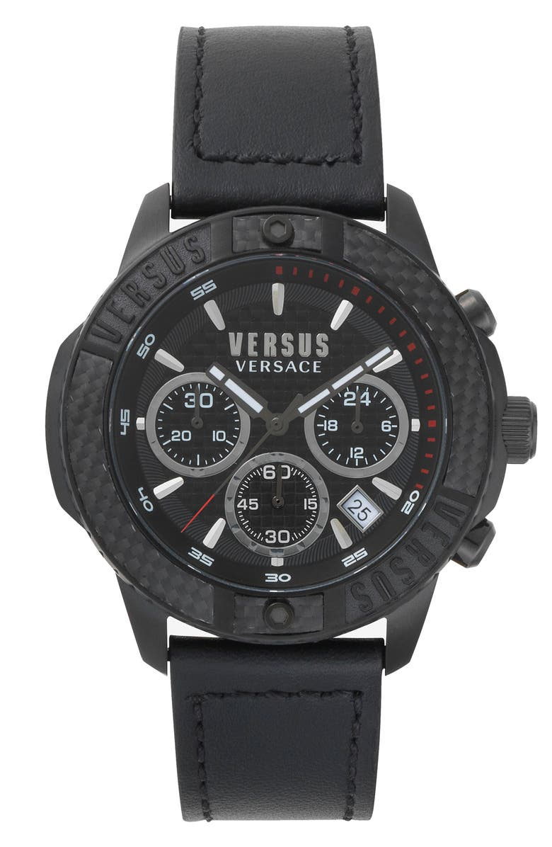VERSUS VERSACE Admiralty Chronograph Leather Strap Watch, 44mm, Main, color, BLACK