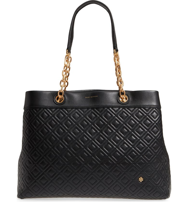 TORY BURCH Fleming Triple Compartment Leather Tote, Main, color, 001