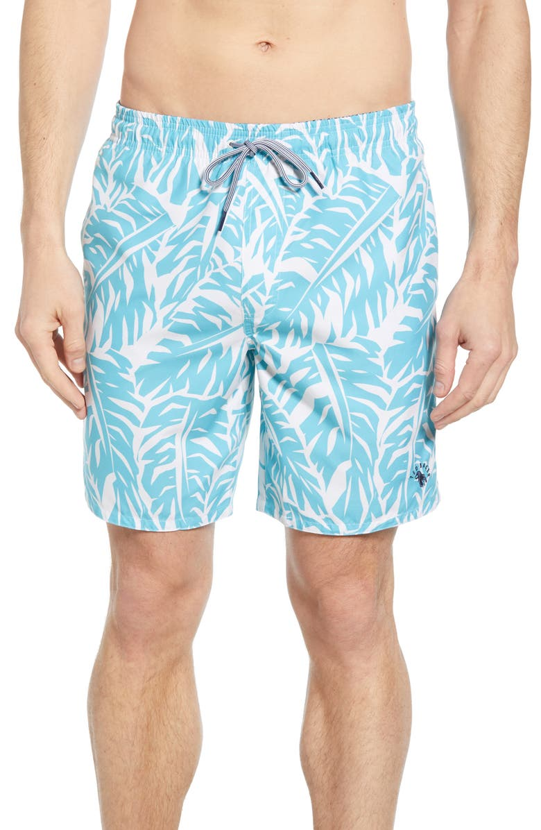 TED BAKER LONDON Tropical Swim Trunks, Main, color, TURQUOISE