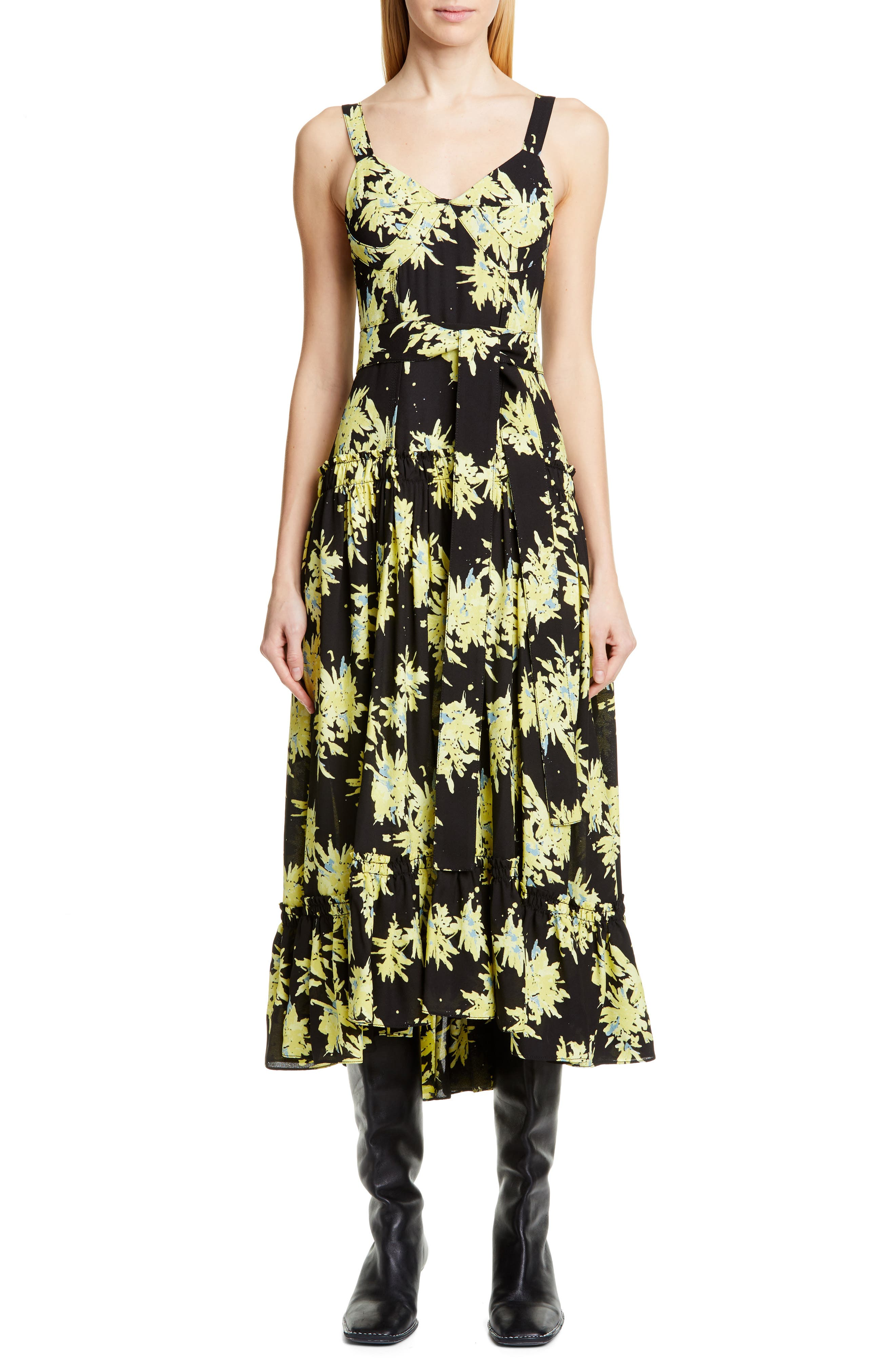 Proenza Schouler Floral Bustier Georgette Midi Dress, Black