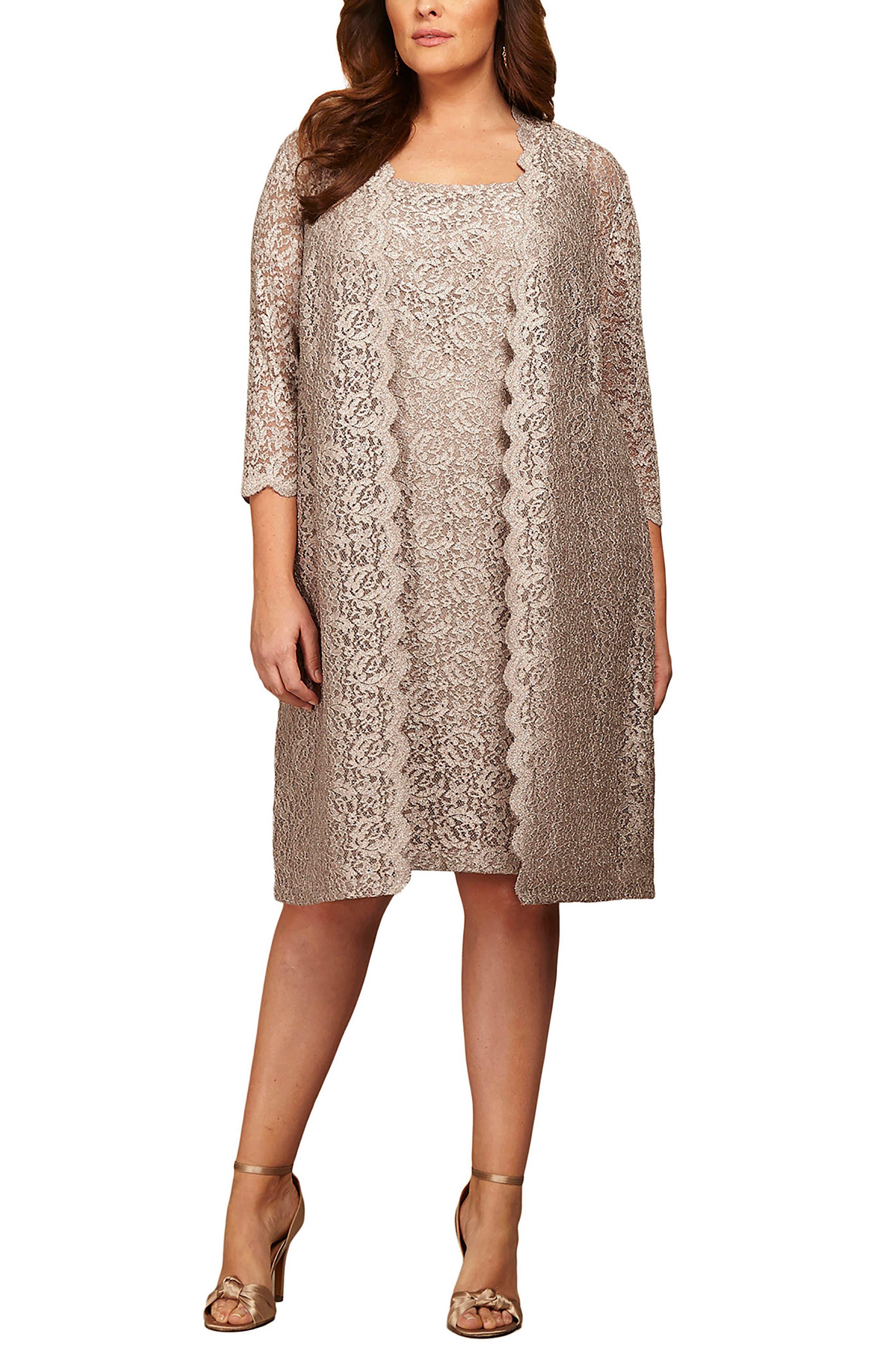 60s Dresses | 1960s Dresses Mod, Mini, Hippie Plus Size Womens Alex Evenings Lace Jacket Dress $219.00 AT vintagedancer.com