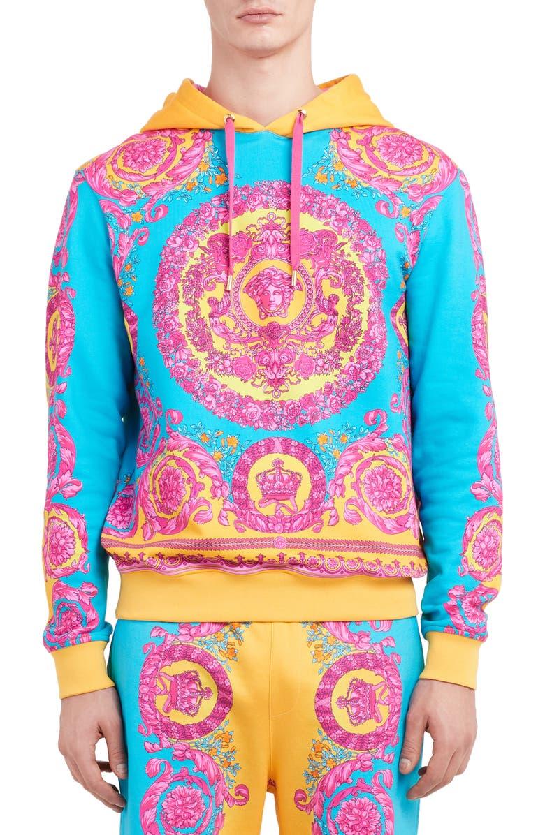 VERSACE Multicolor Felpa Hoodie, Main, color, ORANGE BLUE
