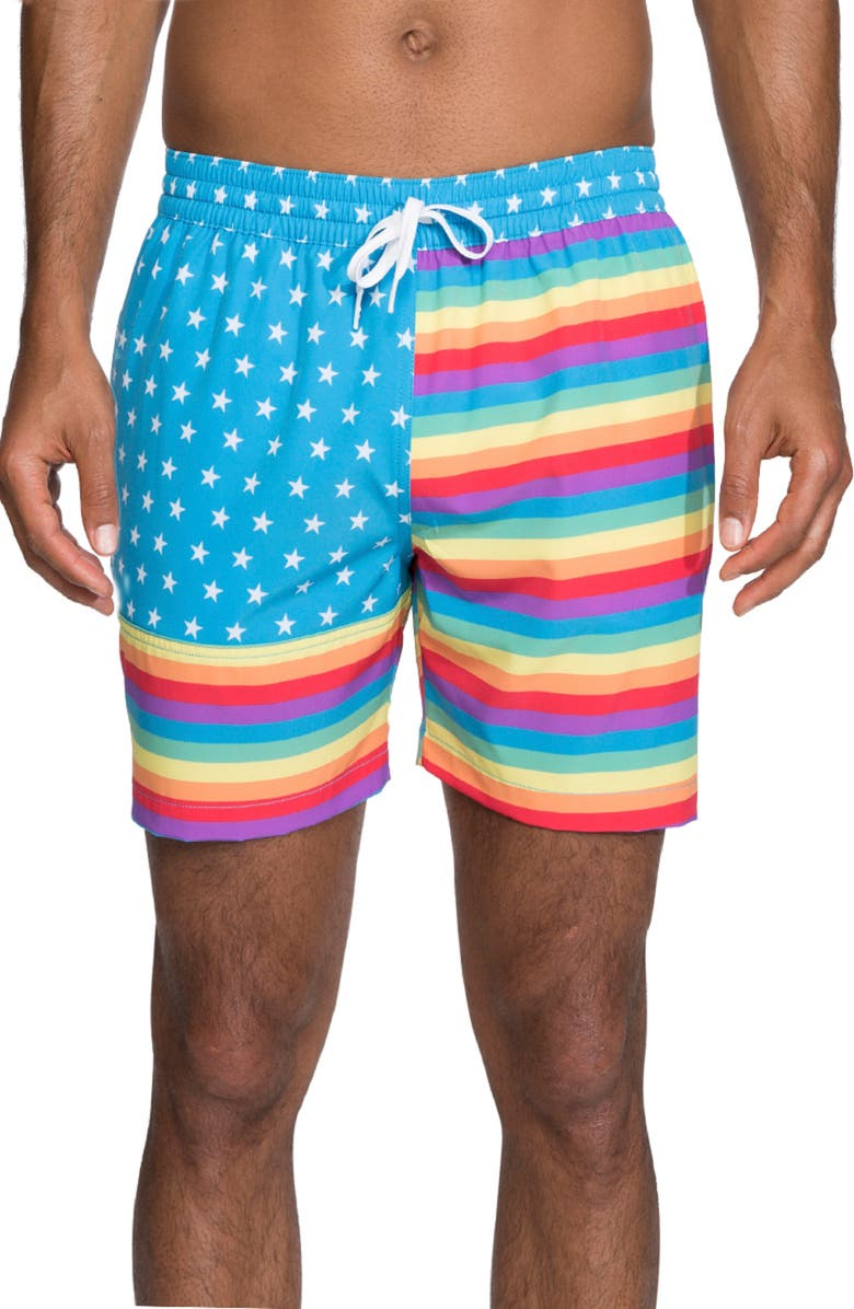 CHUBBIES The Love is Loves Swim Trunks, Main, color, PRIDE FLAG