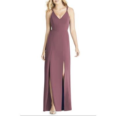 Social Bridesmaids Slit Matte Chiffon Gown, Pink