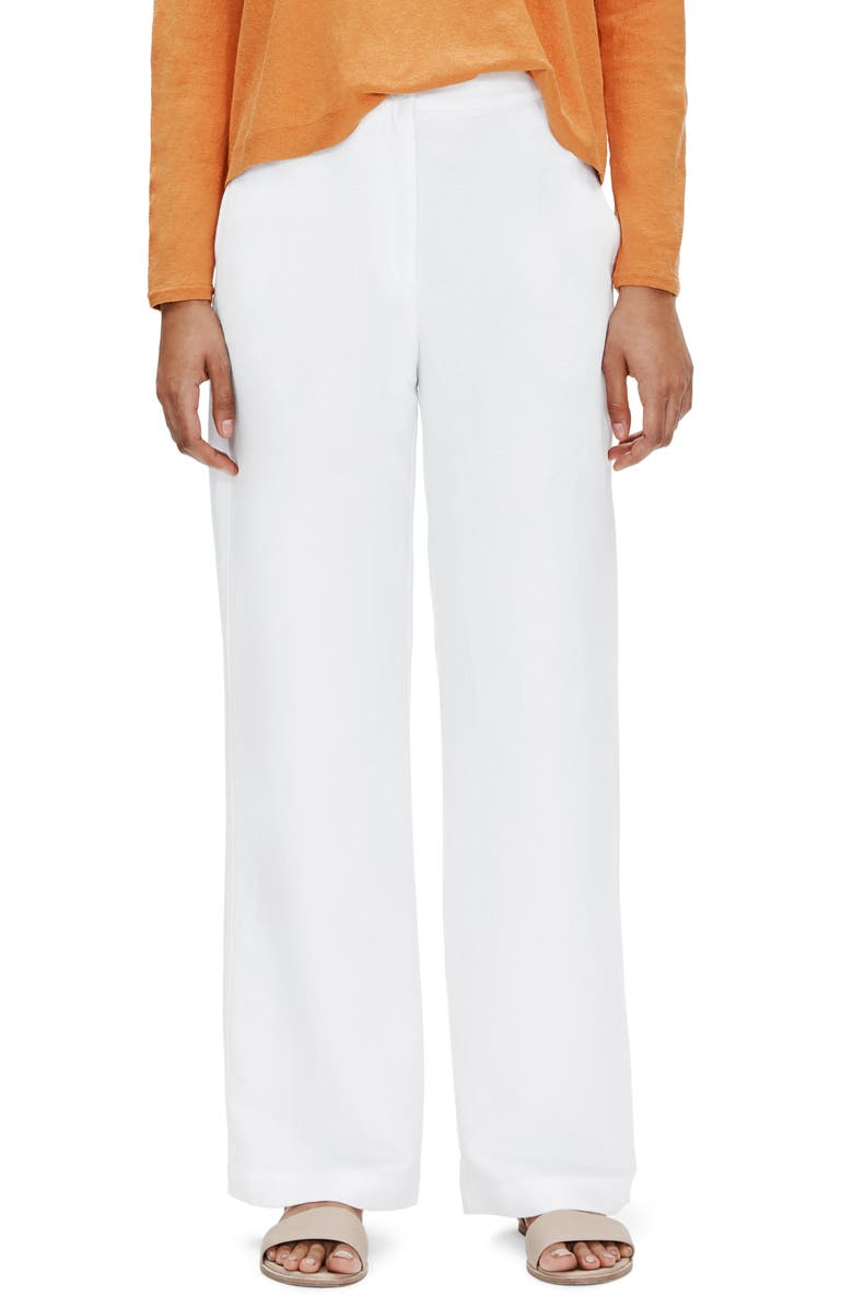 EILEEN FISHER Straight Leg Pants, Main, color, WHITE