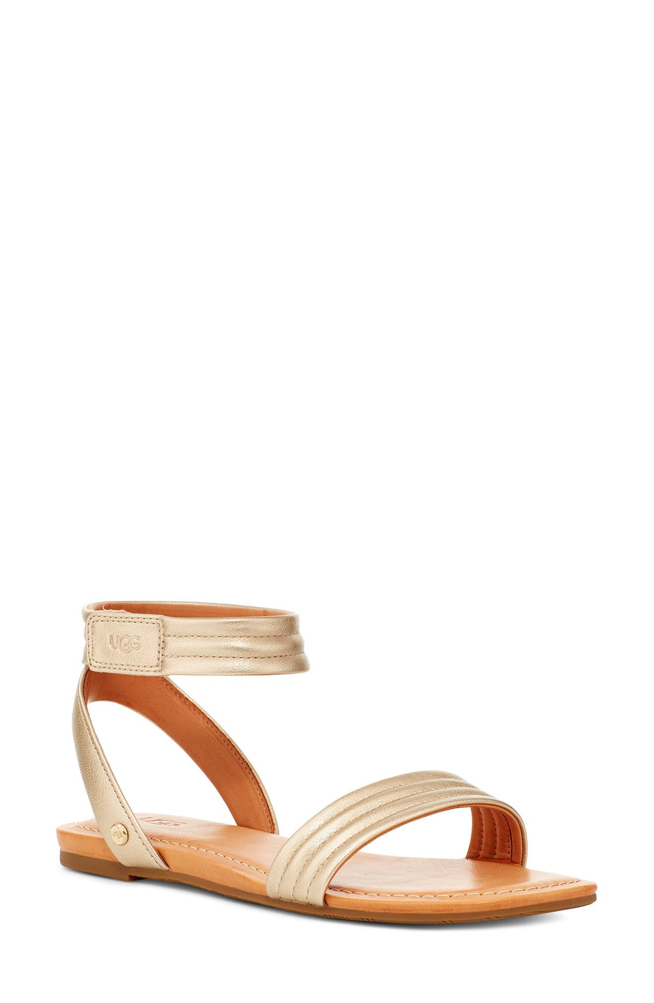 Channel quilting textures the straps of a breezy metallic sandal furnished with a cushy footbed that provides all-day comfort. Style Name: UGG Ethena Metallic Ankle Strap Sandal (Women). Style Number: 5999373. Available in stores.